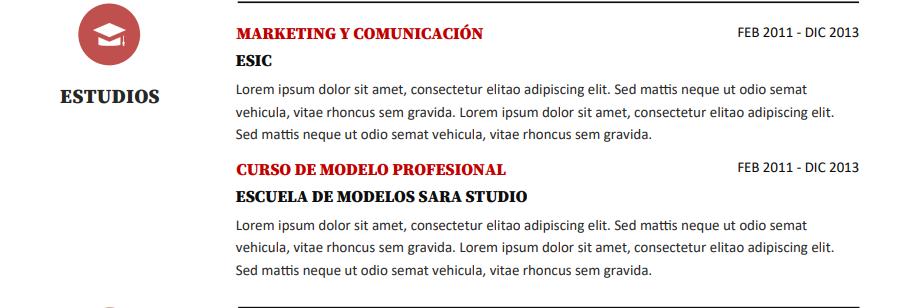 Sección educación- currículum para modelo