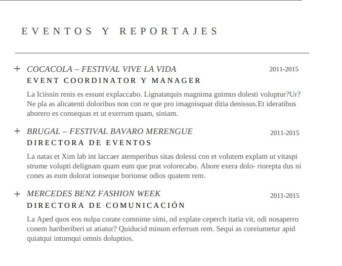 Ejemplo visual Sección Eventos y Reportajes-currículum para relaciones públicas